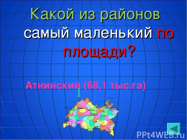 Какой из районов самый маленький по площади? Атнинский (68,1 тыс.га)