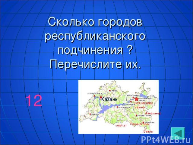 Сколько городов республиканского подчинения ? Перечислите их. 12 Казань Азнакаево Заинск Лениногорск нижнекамск Бавлы нурлат