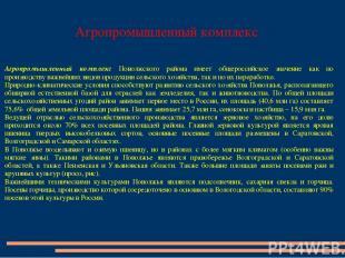 Агропромышленный комплекс Агропромышленный комплекс Поволжского района имеет общ