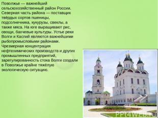 Поволжье — важнейший сельскохозяйственный район России. Северная часть района —