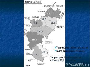 Территория - 536,4 тыс. кв. км (3,2% территории России). 68 53,6 37,3 43,2 100,2