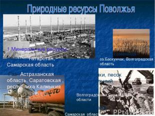 1.Минеральные ресурсы: Нефть –Татарстан, Самарская область Газ- Астраханская обл