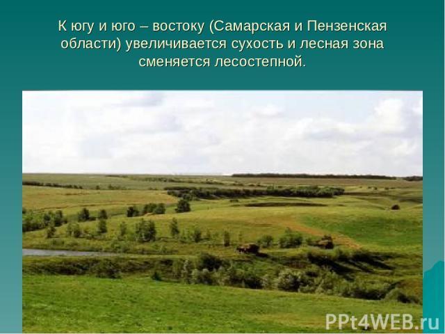 К югу и юго – востоку (Самарская и Пензенская области) увеличивается сухость и лесная зона сменяется лесостепной.