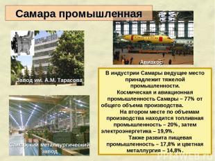 В индустрии Самары ведущее место принадлежит тяжелой промышленности. Космическая