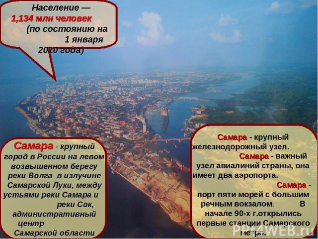 САМАРА Самара расположена на левом берегу реки Волга, в 1054 км от Москвы Население— 1,134млн человек (по состоянию на 1 января 2010 года) Самара- крупный город в России на левом возвышенном берегу реки Волга в излучине Самарской Луки, между усть…