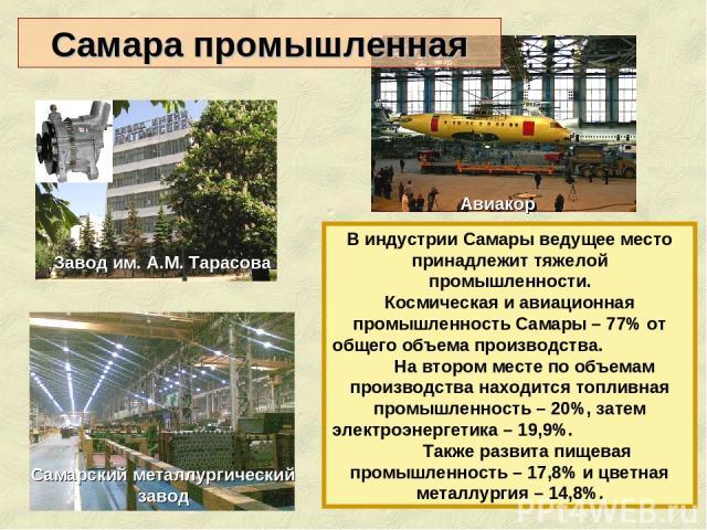 В индустрии Самары ведущее место принадлежит тяжелой промышленности. Космическая и авиационная промышленность Самары – 77% от общего объема производства. На втором месте по объемам производства находится топливная промышленность – 20%, затем электро…
