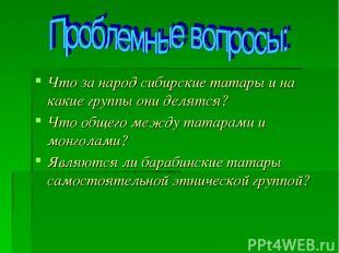 Что за народ сибирские татары и на какие группы они делятся? Что общего между та