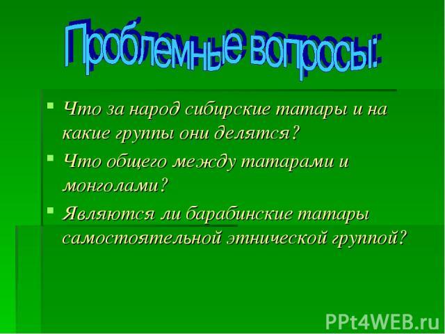 Что за народ сибирские татары и на какие группы они делятся? Что общего между татарами и монголами? Являются ли барабинские татары самостоятельной этнической группой?