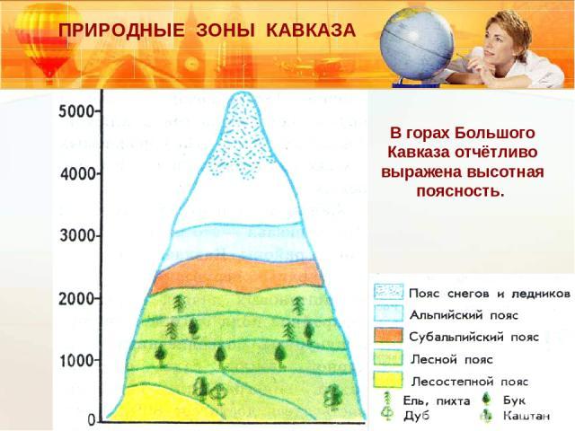 ПРИРОДНЫЕ ЗОНЫ КАВКАЗА В горах Большого Кавказа отчётливо выражена высотная поясность.