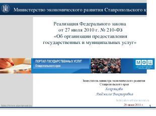 Реализация Федерального закона от 27 июля 2010 г. № 210-ФЗ «Об организации предо