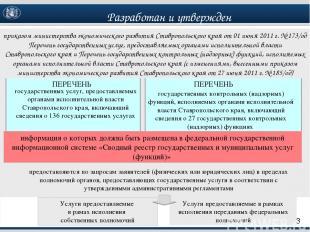 ПЕРЕЧЕНЬ государственных услуг, предоставляемых органами исполнительной власти С
