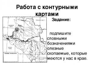 Работа с контурными картами Задание: подпишите условными обозначениями полезные