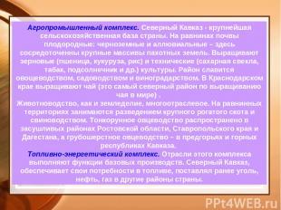 Агропромышленный комплекс. Северный Кавказ - крупнейшая сельскохозяйственная баз