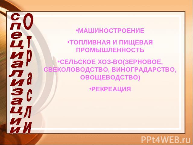МАШИНОСТРОЕНИЕ ТОПЛИВНАЯ И ПИЩЕВАЯ ПРОМЫШЛЕННОСТЬ СЕЛЬСКОЕ ХОЗ-ВО(ЗЕРНОВОЕ, СВЕКОЛОВОДСТВО, ВИНОГРАДАРСТВО, ОВОЩЕВОДСТВО) РЕКРЕАЦИЯ