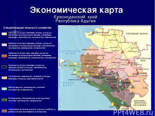 Экономическая карта Краснодаоский край Республика Адыгея Специализация сельского