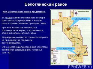 Белоглинский район Ст. Успенская АПК Белоглинского района представлен: 14 хозяйс