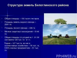 Структура земель Белоглинского района Общая площадь – 150 тысяч гектаров Площадь