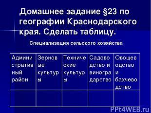 Домашнее задание §23 по географии Краснодарского края. Сделать таблицу. Специали