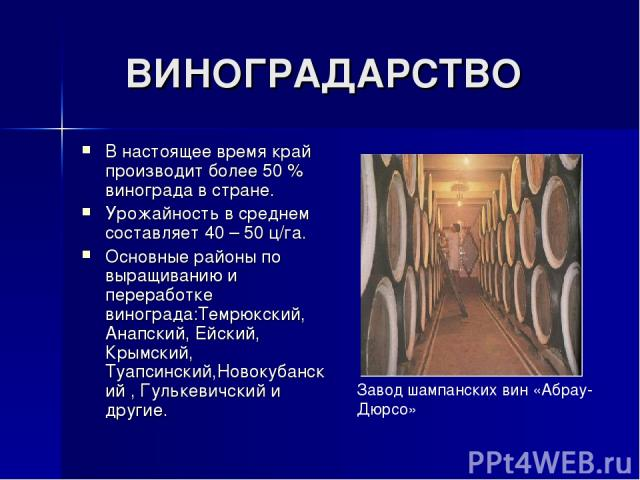 ВИНОГРАДАРСТВО В настоящее время край производит более 50 % винограда в стране. Урожайность в среднем составляет 40 – 50 ц/га. Основные районы по выращиванию и переработке винограда:Темрюкский, Анапский, Ейский, Крымский, Туапсинский,Новокубанский ,…