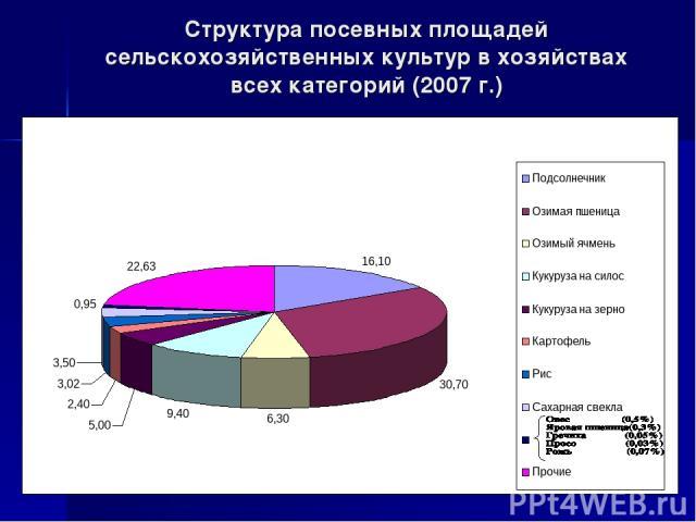 Структура посевных площадей сельскохозяйственных культур в хозяйствах всех категорий (2007 г.)
