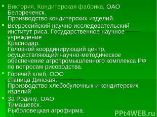 Виктория, Кондитерская фабрика, ОАО Белореченск. Производство кондитерских издел