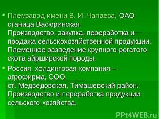 Племзавод имени В. И. Чапаева, ОАО станица Васюринская. Производство, закупка, п
