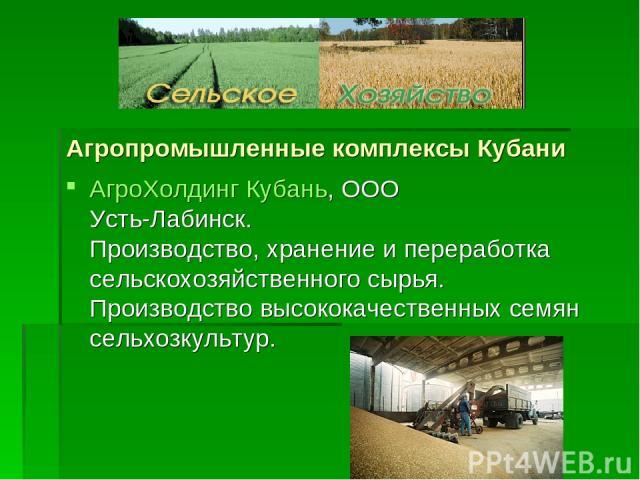 Агропромышленные комплексы Кубани АгроХолдинг Кубань, ООО Усть-Лабинск. Производство, хранение и переработка сельскохозяйственного сырья. Производство высококачественных семян сельхозкультур.