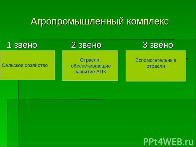 Агропромышленный комплекс 1 звено 2 звено 3 звено Сельское Промышлен- Вспомогатель- хозяйство ность ные отрасли Сельское хозяйство Отрасли, обеспечивающие развитие АПК Вспомогательные отрасли