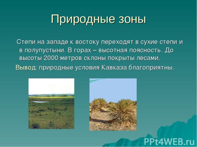 Природные зоны Степи на западе к востоку переходят в сухие степи и в полупустыни. В горах – высотная поясность. До высоты 2000 метров склоны покрыты лесами. Вывод: природные условия Кавказа благоприятны.
