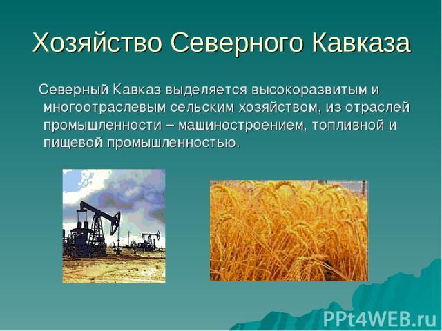 Хозяйство Северного Кавказа Северный Кавказ выделяется высокоразвитым и многоотраслевым сельским хозяйством, из отраслей промышленности – машиностроением, топливной и пищевой промышленностью.