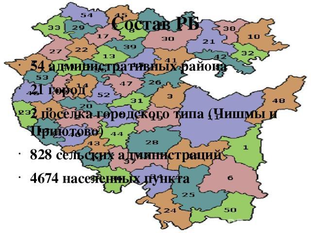 Состав РБ 54 административных района 21 город 2 поселка городского типа (Чишмы и Приютово) 828 сельских администраций 4674 населенных пункта