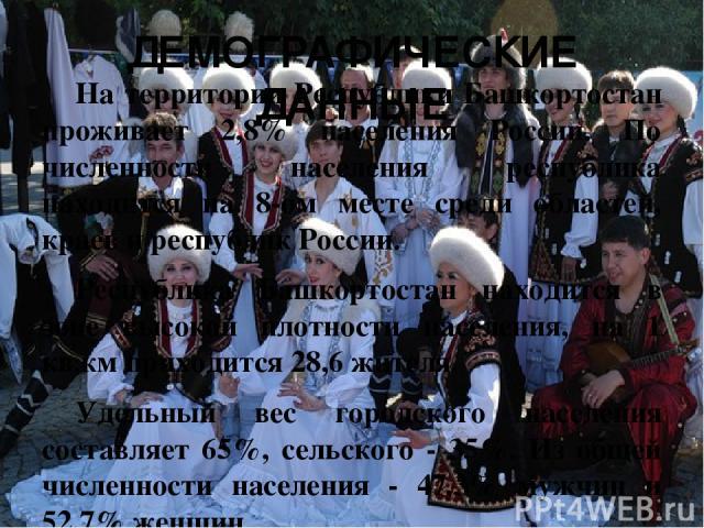 ДЕМОГРАФИЧЕСКИЕ ДАННЫЕ На территории Республики Башкортостан проживает 2,8% населения России. По численности населения республика находится на 8-ом месте среди областей, краев и республик России. Республика Башкортостан находится в зоне высокой плот…