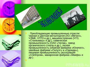 . Преобладающие промышленные отрасли: черная и цветная металлургия (АО «Мечел»,
