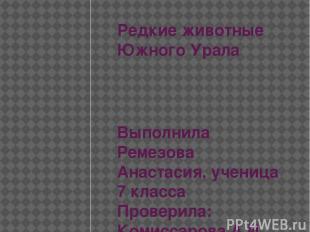 Редкие животные Южного Урала Выполнила Ремезова Анастасия, ученица 7 класса Пров