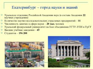 Екатеринбург – город науки и знаний Уральское отделение Российской Академии наук