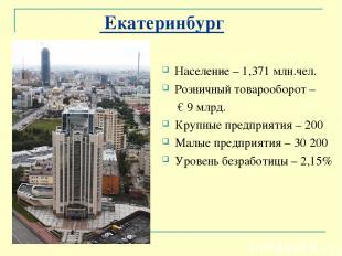 Екатеринбург Население – 1,371 млн.чел. Розничный товарооборот – € 9 млрд. Крупн