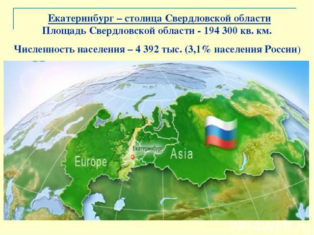 Екатеринбург – столица Свердловской области Площадь Свердловской области - 194300 кв. км. Численность населения – 4 392 тыс. (3,1% населения России)
