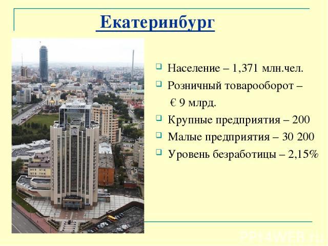 Екатеринбург Население – 1,371 млн.чел. Розничный товарооборот – € 9 млрд. Крупные предприятия – 200 Малые предприятия – 30 200 Уровень безработицы – 2,15%