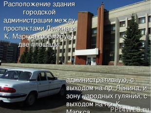 Расположение здания городской администрации между проспектами Ленина и К. Маркса