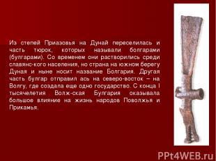 Из степей Приазовья на Дунай переселилась и часть тюрок, которых называли болгар