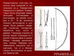Ломоватовская культура по-лучила свое название от мо-гильника на р. Ломоватовке