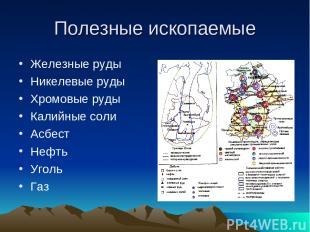 Полезные ископаемые Железные руды Никелевые руды Хромовые руды Калийные соли Асб