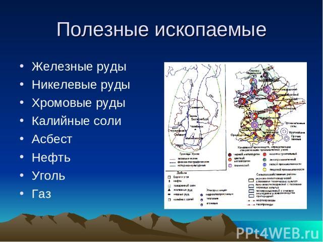 Полезные ископаемые Железные руды Никелевые руды Хромовые руды Калийные соли Асбест Нефть Уголь Газ
