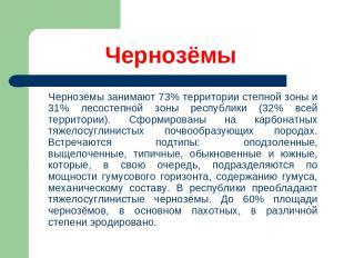 Чернозёмы Чернозёмы занимают 73% территории степной зоны и 31% лесостепной зоны