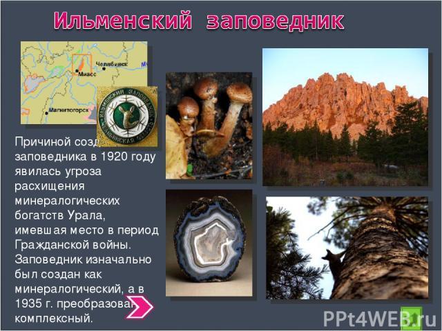Причиной создания заповедника в 1920 году явилась угроза расхищения минералогических богатств Урала, имевшая место в период Гражданской войны. Заповедник изначально был создан как минералогический, а в 1935 г. преобразован в комплексный.
