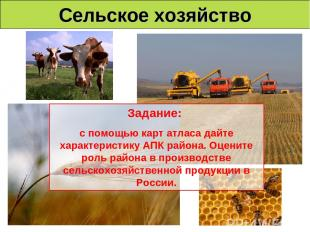 Сельское хозяйство Задание: с помощью карт атласа дайте характеристику АПК район