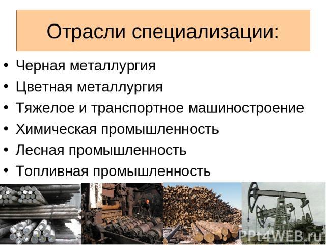 Отрасли специализации: Черная металлургия Цветная металлургия Тяжелое и транспортное машиностроение Химическая промышленность Лесная промышленность Топливная промышленность