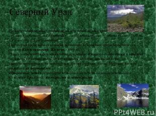 Северный Урал Не имеет современных ледников; на нём преобладают средневысотные г
