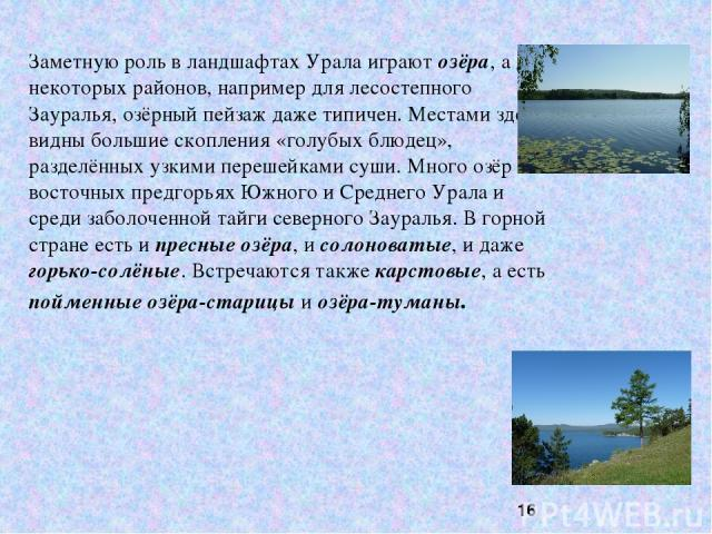 Заметную роль в ландшафтах Урала играют озёра, а для некоторых районов, например для лесостепного Зауралья, озёрный пейзаж даже типичен. Местами здесь видны большие скопления «голубых блюдец», разделённых узкими перешейками суши. Много озёр в восточ…