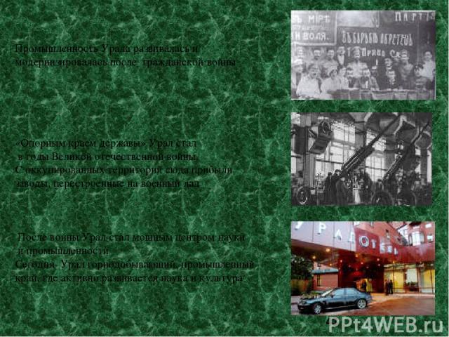 Промышленность Урала развивалась и модернизировалась после гражданской войны «Опорным краем державы» Урал стал в годы Великой отечественной войны. С оккупированных территорий сюда прибыли заводы, перестроенные на военный лад После войны Урал стал мо…